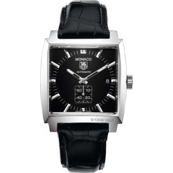 Tag Heuer Monaco Black Dial Alligator Strap Watch found on MODAPINS from  J.R. Dunn Jewelers for 87fd52c6a3886