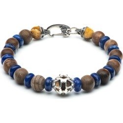 William Henry Embrace Adventure Petrified Wood & Blue Sodalite Beaded Bracelet