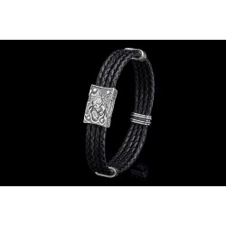 William Henry Free Bird Silver and Black Bracelet