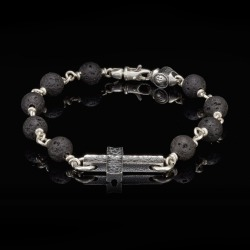 William Henry Pulse Lava Sanctum Silver Cross Bracelet