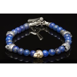 William Henry Two Tone Skull Bead Sync Bracelet