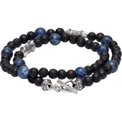 William Henry Pulse Sodalite Tether Lava Rock Wrap Bracelet