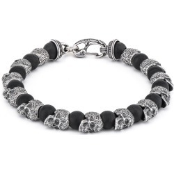 William Henry Shaman Onyx & Silver Skull Bracelet