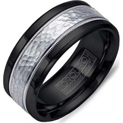 Crown Ring Black Cobalt & White Gold Inlay Men's Wedding Band found on MODAPINS from J.R. Dunn Jewelers for USD $615.00