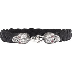 William Henry Black Jack Sugar Skull Braided Black Deerskin Bracelet