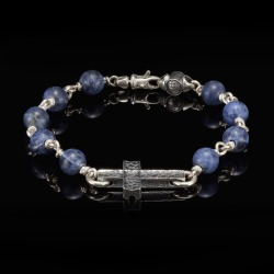 William Henry Pulse Sodalite Sanctum Silver Cross Bracelet