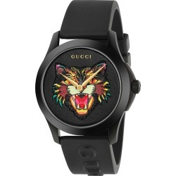 Gucci G-Timeless Black Leather Angry Cat Motif Watch