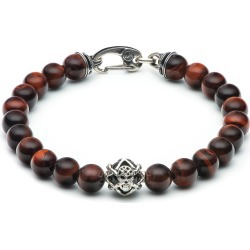 William Henry Embrace Sunset Silver Skull Red Tiger's Eye & Black Onyx Beaded Bracelet