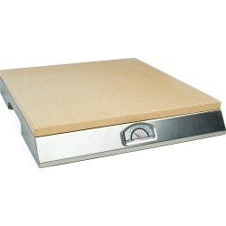 PizzaCraft 15-in. Square Pizza Stone with Stainless Steel Frame and Thermometer, Beig/Green (Beig/Khaki)