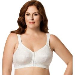 Plus Size Elila Bra: Jacquard Front-Close Wire-Free Full-Figure Bra 1515, Women's, Size: 44 G, White
