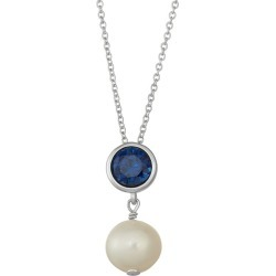 """Sterling Silver Lab-Created Sapphire & Freshwater Cultured Pearl Pendant, Women's, Size: 18"""", Blue"""
