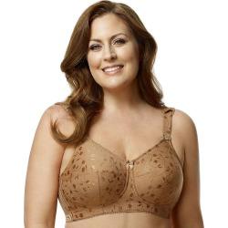 Plus Size Elila Bra: Jacquard Full-Figure Bra 1305, Women's, Size: 52H, Lt Brown