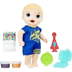 Baby Alive Super Snacks Snackin' Blonde Luke Baby Doll, Multicolor