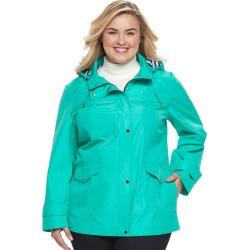 Plus Size d.e.t.a.i.l.s Hooded Anorak Rain Jacket, Women's, Size: 1XL, Green Oth