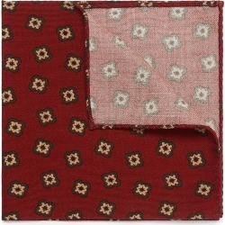 Floral print wool-silk knit pocket square