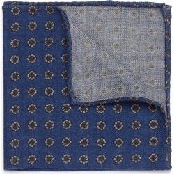 Floral print wool herringbone pocket square
