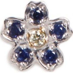Diamond sapphire 18k white gold forget me not charm