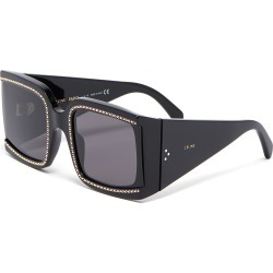 Oversized strass rim acetate square sunglasses