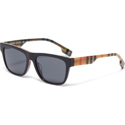 Check print temple acetate square sunglasses