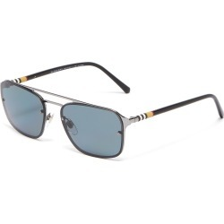 Acetate temple double bridge metal square sunglasses
