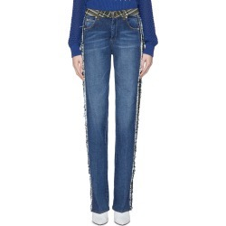 Frayed tartan plaid stripe outseam jeans found on MODAPINS from Lane Crawford-US for USD $630.00