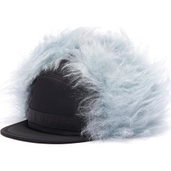 Contrast mohair blend embroidered cap