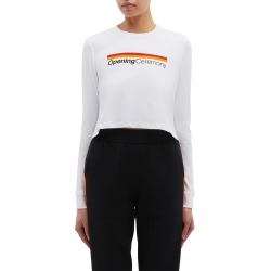 Logo stripe cropped long sleeve T-shirt found on MODAPINS from Lane Crawford-US for USD $125.00