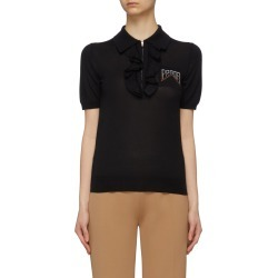 Logo intarsia ruffle half-zip knit polo shirt found on MODAPINS from Lane Crawford-US for USD $1060.00