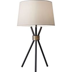 Adesso Benson 1 Light Table Lamps in Black With Antique Bronze Accent 3834-01