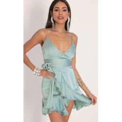 Becca Satin Ruffle Dress in Sage