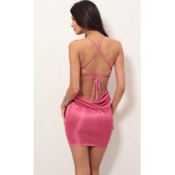 Metallic Cowl Back Dress in Hot Pink