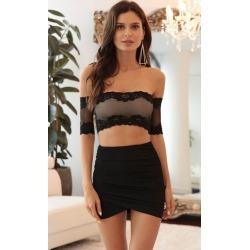 Evelyn Off-the-Shoulder Set in Black Lace