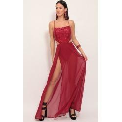 Paris Chevron Sequin Maxi Dress in Ruby