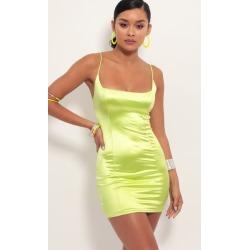 Mila Satin Bodycon Dress in Lime