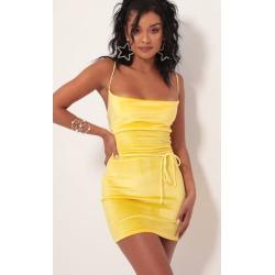 Cowl Neck Velvet Dress in Yellow