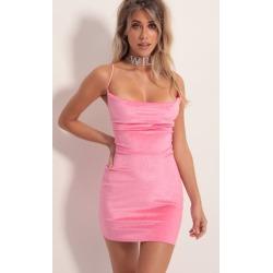 Cowl Neck Velvet Dress in Pink Shimmer