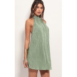 Midnight Satin Halter Dress in Sage
