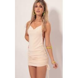 Delilah Halter Plunge Back Dress in Vanilla