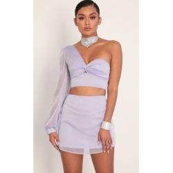 Jasmine Puff Sleeve Chiffon Set in Lavender
