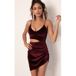 Ella Velvet Cutout Dress in Wine
