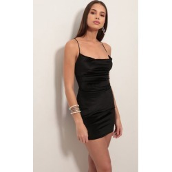 Cowl Neck Velvet Dress in Black