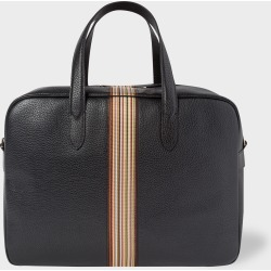 Men's Black Leather Signature Stripe Weekend Bag found on Bargain Bro UK from Paul Smith Ltd