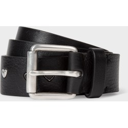Men's Black Leather Metallic Symbols Belt