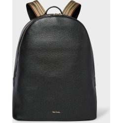 Men's Black Leather Backpack With Signature Stripe Straps found on Bargain Bro UK from Paul Smith Ltd