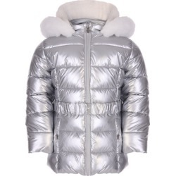 Younger Girls Silver Metallic Belted Padded Coat found on Bargain Bro UK from peacocks.co.uk
