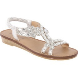 Womens Silver Flower Comfort Sandals found on Bargain Bro UK from peacocks.co.uk