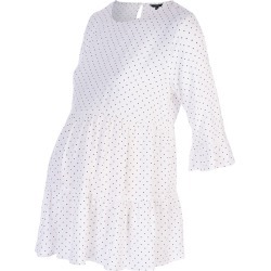 Womens Maternity White Polka Dot Tiered Blouse