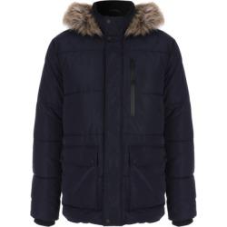 Mens Navy Padded Faux Fur Trim Parka Coat found on Bargain Bro UK from peacocks.co.uk