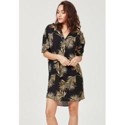 Womens Black Palm Leaf Linen Tunic Dress found on Bargain Bro UK from peacocks.co.uk