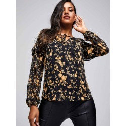 Womens ENVY Mustard Floral Frill Blouse found on Bargain Bro UK from peacocks.co.uk